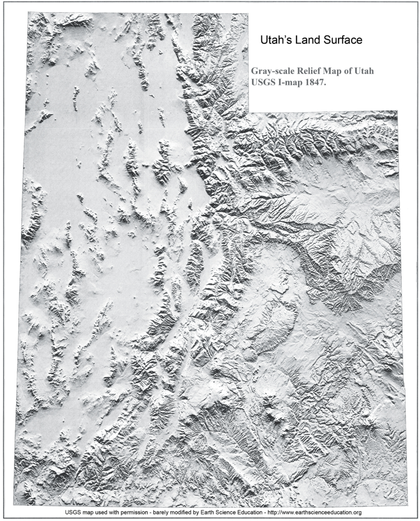 gray-scale shaded relief map of Utah by USGS scientists
